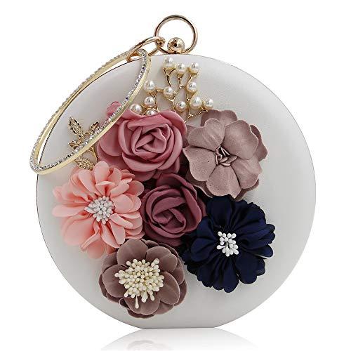 Abendtasche Frauen Clutch Geldbörse Frauen Kleine Handtasche Elegante Damen Abendtasche Künstliche Blumen Runde Form Handtasche Prom Bag Geldbörse für Cocktailparty Braut Umhängetasche Cross-Body Tasc -