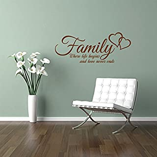 FAMILY where life begins and love never ends, quote wall art sticker decal words, BROWN, 58x23 cm