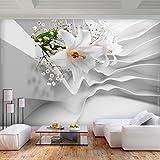 decomonkey | Fototapete Blumen Abstrakt 350x256 cm XL | Tapete | Wandbild | Wandbild | Bild | Fototapeten | Tapeten | Wandtapete | Wanddeko | Wandtapete | 3d Effekt Lilien weiß | FOC0075a73XL