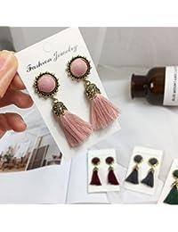 WeterCos (TM) pendientesde la vendimia para la joyer¨ªa de moda pendientes de las mujeres de ladrillo brillante largo de la flor de la borla de los pendientes de gota cuelga los Brincos (rosa)