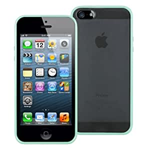 MiniSuit Pastel Case for Apple iPhone 5 - Clear Back with TPU Trim (Mint Green)