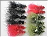 12Lightening Flash, Conehead Wooly Bugger Trout Fliegen–Olive Schwarz & Rot