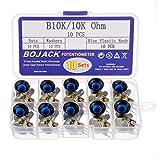BOJACK 10 Sets B10K Axe moleté 3 Bornes Potentiomètres rotatif à conicité linéaire (WH148)10K Ohm Film de carbone Résistances variables kit avec de boutons en plastique bleu
