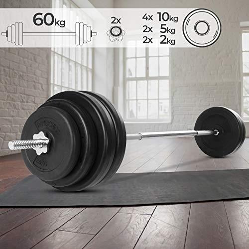 Physionics Barra de musculación de Pesas 60 kg - Barra Larga 165 cm con 8 Discos