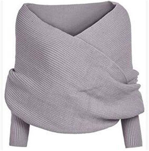 EVERY Damen Sexy Kreuz V-Ausschnitt trägerlos Pullover chic Lose gestrickte Pullover elegant und modern Strickpullover Grau