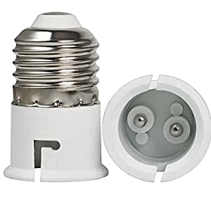 THINK3 Plastic B22-E27 Screw Base Socket Lamp Holder and Light Bulb Adapter (White)