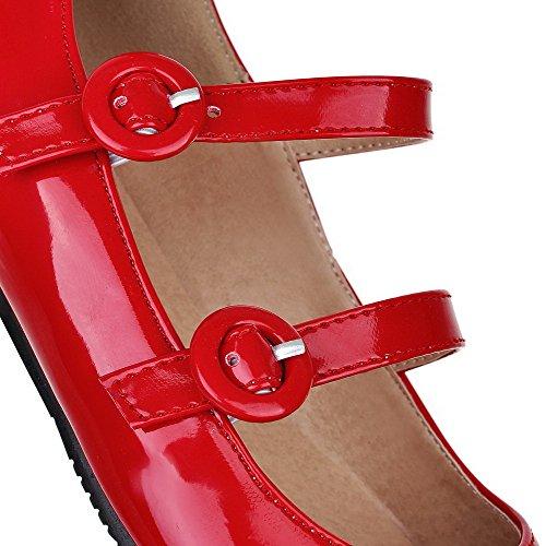 VogueZone009 Femme Couleur Unie Pu Cuir à Talon Bas Pointu Boucle Chaussures Légeres Rouge