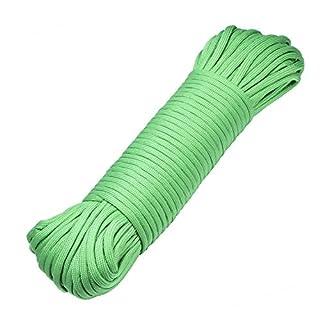DonDon 30 Meter langes Stoffband Nylon-Schnur Paracord-Seil Survival Band zum Basteln und für Outdoor Camping Aktivitäten 4 mm - 7 Stränge grün