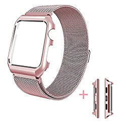 Apple Watch Series 3 Band, Ibazal Apple Watch Strap 38mm Protective Case Upgraded Milanese Stainless Steel Replacement Band Magnetic Closure Clasp Iwatch Strap For All 38mm Apple Watch Series 3 & Series 2 & Series 1 & Sport & Edition Version - Rose Gold 38mm