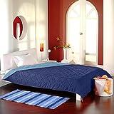 Tagesdecke Bettüberwurf Steppdecke zweiseitige Multifunktionsdecke XXL - 220x240 cm - Dunkelblau/Hellblau