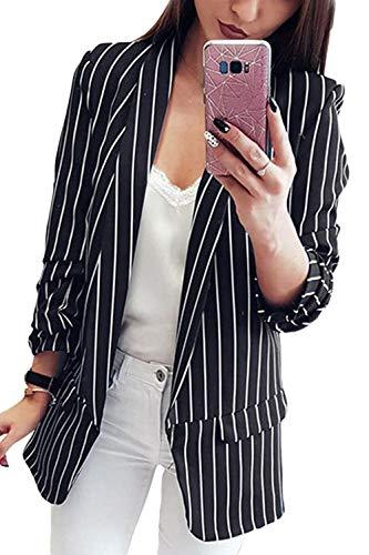 Damen Longblazer Business Herbst Mäntel Nadelstreifen Langarm Revers Casual Sakko Classic Young Fashion Cardigan Jungs (Color : Schwarz, Size : XL)
