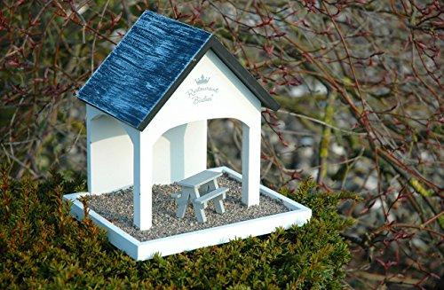 """Luxus-Vogelhaus 12282 Vogelfutterhaus """"Restaurant Birdies"""" mit Kiesterrasse und Sitzgelegenheit, weiߟ lackiert - 2"""