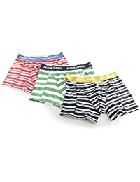 Jack & Jones STRAIGHT Mens Striped Trunks 3 Pack Amber Gold/Chinese Red