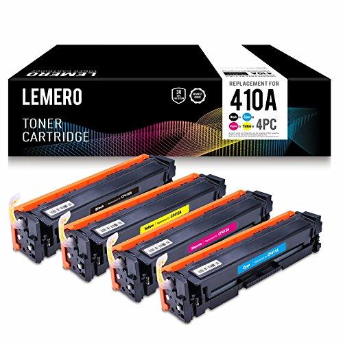 4 Lemero CF410A CF411A CF412A CF413A 410A Color Cartuchos de toner Compatible para HP Color LaserJet M452DW M452DN M452NW M477FDW M477FDN M477FNW Impresora (Negro, Cian, Magenta, Amarillo)