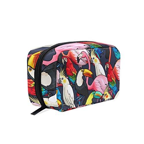 tizorax Exotic Flamingo Tukan Papagei Praktische Kosmetik Tasche Kupplung Make-up-Tasche Organizer Reisetasche