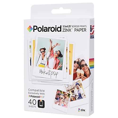 Galleria fotografica Polaroid carta fotografica Premium ZINK da 8,9 cm x 10,80 cm ZINK (40 fogli) - Compatibile con fotocamera istantanea Polaroid POP