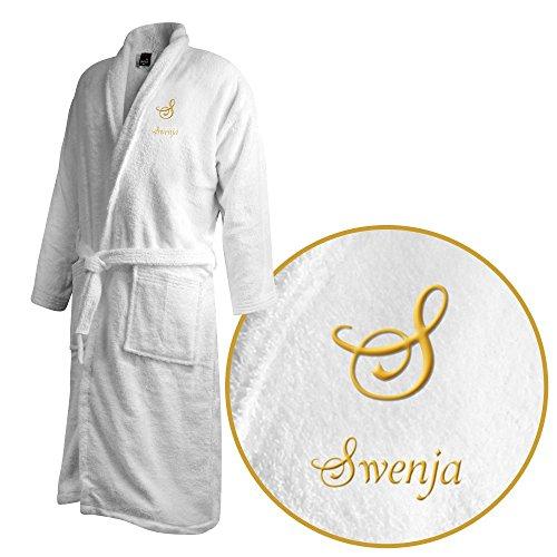 Bademantel mit Namen Swenja bestickt - Initialien und Name als Monogramm-Stick - Größe wählen White