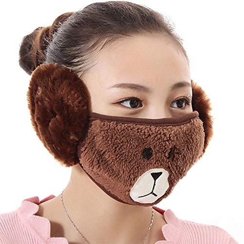 WKSNI Mund Maske Winter Mund Gesichtsmaske Baumwolle Cartoon Cute Skin Care Gehörschutz Winter Half Facial Mundmaske, Kaffee