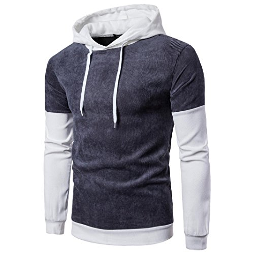 Langarm-Hoodie Männer Sportoberteile Stitching Mantel Jacke Outwear GreatestPAK,Grau,M (Shark Reef)