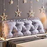 Koreanische Version von Baumwolle Kopfteil Großes Kissen, Weiche Tasche Abnehmbar Waschen Bett Baumwolle Große Zurück, Lange Sofakissen Bett Hinten-Weiß 140x53cm(55x21inch)