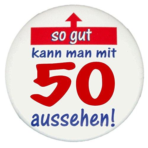 Button so gut 50 zum Geburtstag, kleine Geschenkidee zum 50. Geburtstag: So gut Button einzeln