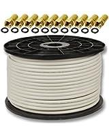 100m Koaxialkabel Sat Koax Kabel 130dB PremiumX + 10 x F-Stecker GRATIS DAZU