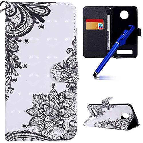 Preisvergleich Produktbild MoreChioce kompatibel mit Motorola MOTO Z3 Play Hülle,kompatibel mit Motorola Z3 Play Lederhülle, Bunt 3D Bling Glitzer Klapphülle Flip Case Brieftasche Magnetische,Schwarze Diagonale Blume,EINWEG
