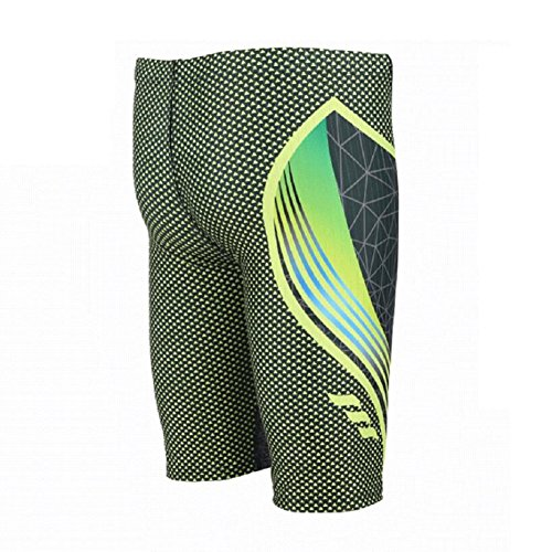 LJ&L Herren-Sport-Profi-Badehose, gelbe und grüne, modische, bequeme Polyester-Badehose, schnelltrocknendes, atmungsaktives Semi-Hose B