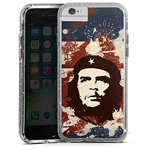 Apple iPhone 6 Bumper Hülle Bumper Case Glitzer Hülle Che Guevara Revolution Freiheit Bumper Case Glitzer silber