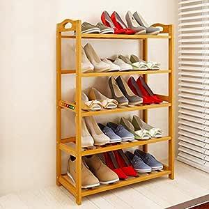 Livzing 5-Tier Multiuse Bamboo Wooden Shoe Rack Slipper Stand Chappal Shelf Household Storage Holder Organizer