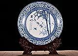 better-way Traditioneller Deko Keramik Teller mit Drache Holz Ständer für Präsentation und Dekorieren (Chinesische Landschaft Gemälde)