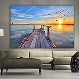 w15Y8 Scenario al Tramonto sul Mare Spiaggia di Acqua Multicolore Paesaggio Moderno Quadro su Tela Decorazione Camera da Letto Soggiorno/D 60 * 90