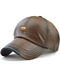 2cb4f45bf07059 JAMONT Männer PU-Leder-Baseballmütze-Winter-warmes Logo korrigierte Kappe  justierbare Headwear-Sport-Kappen-Fernlastfahrer-Hut…