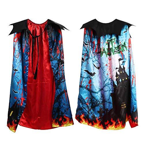 Unterwelt Aus Mädchen Der Kostüm - GLXQIJ Unisex Halloween Dress Up Kinder Mädchen Kind Double Layer Print Mantel Cape Outfit Halloween Kostüm Zubehör,Blue,OneSize