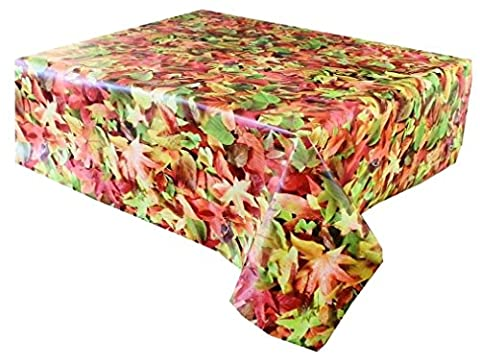 2 Metres (200cm x 137cm) Vinyl Tablecloth, Rustic Autumn Leaves in Green, Red and Brown. 6 Seater Size Oblong Wipe Clean, Textile Backed (186)