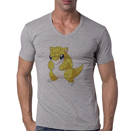 Pokemon Sandshrew Sand Ground Cute Yellow Herren V-Neck T-Shirt Grau