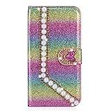 Miagon Hülle Glitzer für Samsung Galaxy A9 2018,Luxus Diamant Strass Perle Herz PU Leder Handyhülle Ständer Funktion Schutzhülle Brieftasche Cover,Regenbogen Rosa