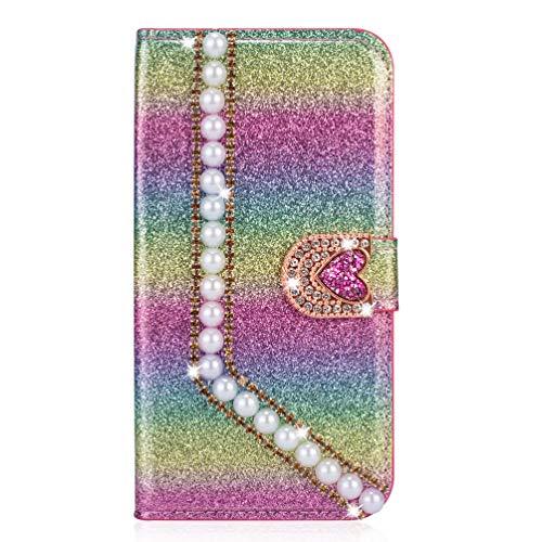 Miagon Hülle Glitzer für iPhone XR,Luxus Diamant Strass Perle Herz PU Leder Handyhülle Ständer Funktion Schutzhülle Brieftasche Cover,Regenbogen Rosa