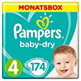 Pampers Baby-Dry Windeln, Gr. 4, 9-14 kg, Monatsbox, 1er Pack (1 x 174...
