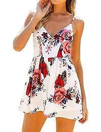 Donna Tutine Eleganti V Scollo Senza Spalline Fiori Stampati Fashion  Vintage Etno-Style Estive Beach 4ac9ef728d9