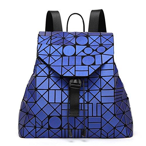 Opaco Zaino Signora Irregolare Cucitura Zaino Fulmini Forma Rhinestone Viaggi Big Bag Luminoso Colore Borsa DarkBlue