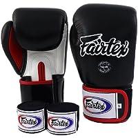 Fairtex Guantes de Muay Thai BGV1Negro sólido tamaño: 10121416oz. Entrenamiento y Sparring Multiusos Guantes de Kick Boxing MMA K1Ajuste Apretado diseño, Negro/Blanco/Rojo