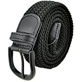 "Braided Stretch Elastic Belt with Pin Oval Solid Black Buckle Leather Loop End Tip with Men/Women/Junior (Black, Large 36""-38"" (44"" Length))"