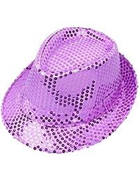 0f481749bff93 Zedo Unisex Hat Performance Sequins Top Hat Stage Dance Kids Hat  Parent-Child Cap Glitter