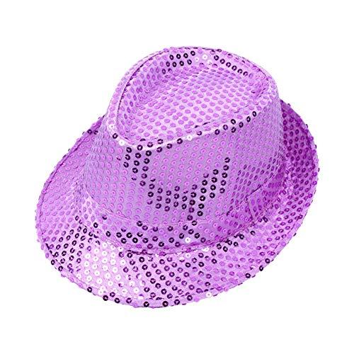 Cosanter Glitzernder Pailletten Hüte für Tanzparty Bühnenperformance Mützen & Caps Unisex, 58 cm Hellviolett
