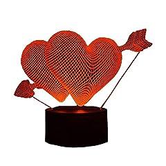 Idea Regalo - Lampada della luce di notte 3D con 7 colori per il festival di decorazione della casa del regalo del partito (freccia attraverso il cuore) di Yeelan