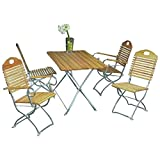 Gartengruppe Gartengarnitur Gartenmöbel Set 5-teilig Kurgarten Robinie Stahl