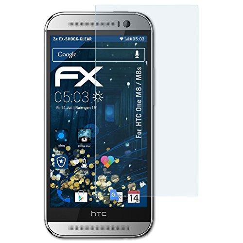 atFolix Schutzfolie kompatibel mit HTC One M8 / M8s Panzerfolie, ultraklare & stoßdämpfende FX Folie (3X)