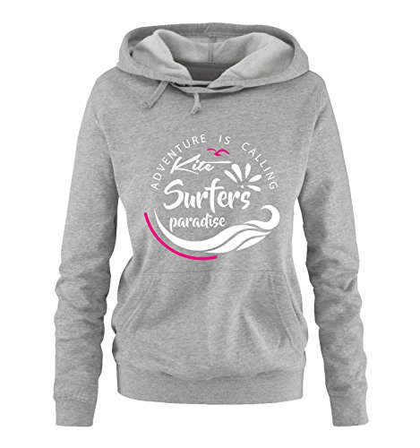 Comedy Shirts - Kite surfers paradise - Damen Hoodie - Grau / Weiss-Pink Gr. L