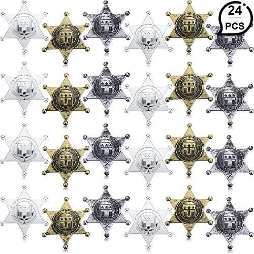 Kostüm Sheriff Abzeichen - WILLBOND 24 Stücke Kunststoff Sheriff Abzeichen Cowboy Spielzeug Abzeichen 3 Farbe Westlichen Stellvertretender Sheriff Abzeichen für Halloween Party Gefallen Kostüm Requisiten